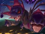 black_sclera commentary_request fangs gen_5_pokemon highres hydreigon molten_rock night no_humans open_mouth outdoors pokemon pokemon_(creature) red_eyes rio_(user_nvgr5434) shiny solo star_(sky) tongue