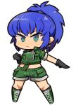 1girl blue_hair boots chibi earrings full_body gloves ibara. jewelry leona_heidern midriff ponytail solo the_king_of_fighters tsurime