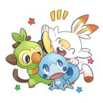 blue_eyes closed_eyes closed_mouth commentary_request fang gen_8_pokemon grookey half-closed_eyes hand_on_another's_head looking_back mobbbt open_mouth pokemon pokemon_(creature) scorbunny signature smile sobble star_(symbol) starter_pokemon_trio tongue watermark white_background