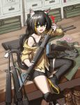 1girl animal_ears assault_rifle bangs bare_shoulders black_hair black_legwear cat_ears cat_girl cat_tail cheogtanbyeong cosplay fang girls_frontline gloves green_eyes gun highres holding holding_gun holding_weapon indoors karyl_(princess_connect!) long_hair looking_at_viewer m16 m16a1 m16a1_(girls_frontline) m16a1_(girls_frontline)_(cosplay) multicolored_hair off_shoulder open_mouth princess_connect! rifle shorts sitting solo streaked_hair submachine_gun sweatdrop tail very_long_hair weapon white_hair