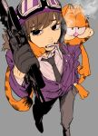 1boy 1girl animal_ears bangs brown_hair cat cat_ears cat_tail character_request chatarou_(chataro_1214) cigarette collared_shirt commentary_request copyright_request eyebrows_visible_through_hair eyes_visible_through_hair fangs from_above garfield garfield_(character) gloves goggles goggles_on_headwear grey_background grey_neckwear grey_pants gun hat highres holding holding_gun holding_weapon jacket long_hair long_sleeves looking_at_viewer mouth_hold necktie open_mouth orange_fur pants partially_unzipped purple_headwear purple_jacket raised_eyebrows shirt simple_background smoking swept_bangs tail trigger_discipline weapon white_shirt