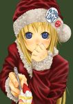 bad_id blonde_hair blue_eyes blush cake christmas feeding food fruit hand_over_mouth hat long_hair okiru pastry pins pov_feeding santa_costume santa_hat strawberries strawberry
