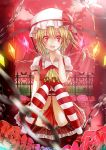 1girl ascot blonde_hair bow chain commentary dress fence flandre_scarlet flower glowing glowing_eyes glowing_wings hand_to_own_mouth hat hat_bow highres knees_together_feet_apart looking_at_viewer open_mouth petals puffy_sleeves red_dress red_eyes red_rose rose scarlet_devil_mansion short_sleeves side_ponytail silver_hair sitting smile solo striped striped_legwear thigh-highs toufukin touhou wings