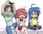bad_id blue_hair blush girls_playing_games glasses green_hair izumi_konata kobayakawa_yutaka lucky_star nagian narumi_yui playing_games playstation playstation_2 raglan_sleeves socks video_game video_games