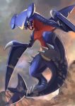 black_sclera claws commentary dragon fangs from_below garchomp gen_4_pokemon glowing glowing_eyes highres no_humans open_mouth outstretched_arms pokemon pokemon_(creature) sand solo tail tesshii_(riza4828) tongue yellow_eyes