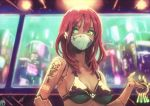1girl absurdres android bangs bikini black_bikini blurry blurry_background breasts city cyberpunk green_eyes highres key long_hair looking_at_viewer mask medium_breasts mouth_mask okuto original redhead scenery swimsuit tattoo upper_body
