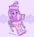 1girl bangs chibi chinese_clothes commentary full_body hat jiangshi karimikarimi long_hair low_twintails outstretched_arms pleated_skirt purple_background purple_footwear purple_hair purple_headwear purple_legwear purple_skirt purple_theme qing_guanmao skirt socks solo tamura_yuri tanzaku twintails twitter_username violet_eyes watashi_ga_motenai_no_wa_dou_kangaetemo_omaera_ga_warui! wide_sleeves zombie_pose