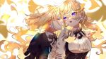 2girls :o absurdres black_neckwear blonde_hair blue_eyes bow bowtie chilcy35 closed_eyes day earrings ginkgo_leaf highres holding_hand jewelry long_hair long_sleeves multiple_girls original outdoors short_hair stud_earrings twintails upper_body yuri