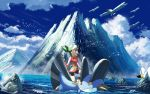 1girl bike_shorts bird black_legwear brown_hair clouds commentary_request day gen_3_pokemon gloves green_bandana long_hair looking_to_the_side may_(pokemon) outdoors pokemon pokemon_(creature) pokemon_(game) pokemon_emerald pokemon_rse riding_pokemon rowdon sky sleeveless socks swampert water wingull wristband