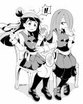 2girls blush bread eating food greyscale hair_over_one_eye holding jar kagari_atsuko little_witch_academia long_hair long_skirt luna_nova_school_uniform monochrome multiple_girls pantyhose poking ponytail school_uniform skirt sucy_manbavaran tama_(tm_suac) white_background