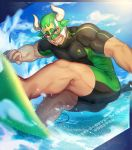 1boy ass bara black_hair bulge chest clouds cloudy_sky covered_nipples dark_skin dark_skinned_male facial_hair goatee gozu_farm green_eyes green_hair grin male_focus male_swimwear muscle outdoors short_hair sky smile solo summer surfboard swimwear taurus_mask thick_thighs thighs tight tokyo_houkago_summoners water water_drop wrestling_mask wrestling_outfit