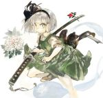 1girl back_bow black_bow black_hairband black_ribbon bow brown_footwear commentary_request flower green_eyes green_skirt green_vest grey_background grey_hair hair_ribbon hairband holding holding_sword holding_weapon katana konabetate konpaku_youmu konpaku_youmu_(ghost) looking_at_viewer ribbon short_hair short_sleeves skirt solo sword touhou vest weapon