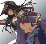 1girl animal_ears black_hair cat_ears ciconia_no_naku_koro_ni cuffs dark_skin denim dutch_angle egyptian egyptian_mythology g-string hand_on_hip headband highres jeans jewelry long_hair looking_at_viewer midriff pants prgdmk ring seshat simple_background solo thong white_background yellow_eyes