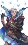 1boy black_gloves blue_eyes bug butterfly cape cowboy_shot epaulettes facial_hair fate/grand_order fate_(series) formal glasses gloves grey_hair high_collar highres insect james_moriarty_(fate/grand_order) kuroda_matsurika long_sleeves looking_at_viewer male_focus mustache one_eye_closed short_hair smile vest
