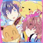 1boy 1girl bangs blue_eyes brown_hair commentary copyright_name eevee gen_1_pokemon gotcha! gotcha!_boy_(pokemon) gotcha!_girl_(pokemon) hair_between_eyes headphones headphones_around_neck holding holding_pokemon looking_at_viewer open_mouth pikachu pokemon pokemon_(creature) purple_hair too_mizuguchi zipper