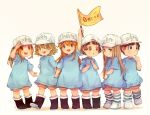 6+girls :d :o arm_up baseball_cap benzbt black_footwear blue_shirt brown_eyes brown_hair child clenched_hand flag hair_between_eyes hat hataraku_saibou holding holding_flag long_hair multiple_girls open_mouth oversized_clothes oversized_shirt platelet_(hataraku_saibou) ponytail shirt short_hair shorts simple_background smile striped striped_legwear t-shirt white_background white_footwear