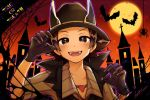 1boy bat black_gloves black_headwear brown_eyes brown_hair bug chaimo_box claw_pose collarbone commentary_request gloves halloween hat hilbert_(pokemon) jewelry looking_at_viewer male_focus moon necklace night open_mouth pokemon pokemon_(game) pokemon_masters_ex short_sleeves silhouette spider teeth tongue