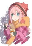 1girl :o absurdres bangs blue_hair blush chopsticks coat cropped_torso fingerless_gloves food gloves hair_between_eyes hat highres kagamihara_nadeshiko long_hair looking_at_viewer nekosination noodles open_mouth pink_coat pink_hair ramen ramen scarf solo steam surprised upper_body winter_clothes yellow_scarf yurucamp