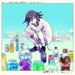 1202_koge 1boy blue_background blurry blurry_background blurry_foreground bottle brand_name_imitation c.c._lemon calpis checkered checkered_scarf coca-cola commentary_request danganronpa depth_of_field flats full_body holding holding_bottle jacket long_sleeves looking_at_viewer male_focus mellow_yellow mitsuya_cider new_danganronpa_v3 orangina ouma_kokichi pants pepsi purple_hair ramune scarf shoes smile soda soda_bottle solo sprite_(drink) squatting straitjacket violet_eyes white_jacket white_pants