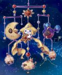 :> arufa_(a-1626) closed_mouth commentary_request constellation cosmog gen_1_pokemon gen_2_pokemon gen_3_pokemon gen_7_pokemon hanging highres holding holding_pokemon jirachi legendary_pokemon lunatone mareep mythical_pokemon no_humans open_mouth pokemon pokemon_(creature) smile solrock star_(sky) star_(symbol) staryu tongue