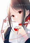 1girl black_hair card chinese_commentary choker close-up heart highres jijing_zishui kaguya-sama_wa_kokurasetai_~tensai-tachi_no_renai_zunousen~ looking_at_viewer playing_card red_choker red_eyes school_uniform shinomiya_kaguya smile solo