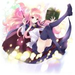blue_legwear blue_skirt bolo_tie book buttons holding holding_book holding_wand louise_francoise_le_blanc_de_la_valliere mary_janes official_art pentacle pentagram pink_eyes pink_hair shirt shoes skirt thigh-highs thighs transparent_background usatsuka_eiji wand white_shirt zero_no_tsukaima zettai_ryouiki