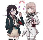 ! 1boy 1girl backpack bag bangs black_legwear blush bottle breasts checkered checkered_neckwear checkered_scarf cosplay costume_switch danganronpa eyebrows_visible_through_hair fanta grin hair_between_eyes hair_ornament handheld_game_console highres holding hood hood_down hoodie jacket long_sleeves lysm425 medium_hair nanami_chiaki new_danganronpa_v3 nintendo_switch open_mouth ouma_kokichi pink_eyes pink_hair pleated_skirt purple_hair scarf simple_background skirt smile soda soda_bottle straitjacket super_danganronpa_2 thigh-highs violet_eyes white_background