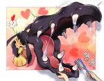 blush brushing_teeth commentary_request fangs gen_3_pokemon hands_up heart highres holding holding_toothbrush mawile one_eye_closed open_mouth orange_eyes pokemon pokemon_(creature) saliva spoken_heart tm_(hanamakisan) tongue toothbrush trembling
