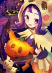 1girl acerola_(pokemon) bangs bush commentary_request cosplay e-co eyelashes fence gen_7_pokemon gloves halloween holding hood hood_up looking_to_the_side mimikyu mimikyu_(cosplay) night outdoors pokemon pokemon_(creature) pokemon_(game) pokemon_masters_ex pumpkin purple_hair single_glove smile violet_eyes