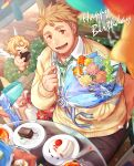 1boy blonde_hair bouquet brown_eyes brown_pants cake cherub cup cupid_(tokyo_houkago_summoners) feathered_wings flower food fork gozu_farm green_neckwear happy_birthday looking_at_viewer male_focus necktie pants shirt smile strawberry_shortcake tareme tennouji_shin'ya tokyo_houkago_summoners upper_body white_shirt wings