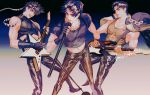 3boys amuiiart black_gloves closed_mouth electric_guitar feet_out_of_frame fingerless_gloves gloves guitar highres holding holding_instrument holding_microphone instrument jojo_no_kimyou_na_bouken jonathan_joestar joseph_joestar_(young) kuujou_joutarou male_focus microphone multiple_boys music open_mouth pants playing_instrument singing sleeveless smile