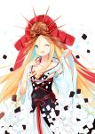 1girl ;d abigail_williams_(fate/grand_order) absurdres bangs blonde_hair blue_eyes blush commentary_request crossed_bandaids fate/grand_order fate_(series) hair_between_eyes hands_up highres long_sleeves looking_at_viewer one_eye_closed open_mouth parted_bangs red_headwear simple_background sleeves_past_wrists smile solo white_background wide_sleeves yukaa