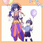 1202_koge 2boys ahoge balloon belt belt_buckle blue_hair blue_shirt border brown_belt buckle collared_shirt commentary_request danganronpa flipped_hair frilled_sleeves frills hair_between_eyes hat holding holding_balloon holding_hands jester_cap kneehighs looking_at_another looking_at_viewer male_focus multicolored_pants multiple_boys neck_ruff new_danganronpa_v3 open_mouth orange_border orange_pants ouma_kokichi outside_border pants pleated_shorts puffy_pants purple_hair purple_pants purple_vest saihara_shuuichi shirt shirt_tucked_in shorts simple_background smile striped striped_pants vest violet_eyes white_background wrist_cuffs yellow_eyes younger