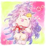 1girl blush bow cropped_legs final_fantasy final_fantasy_vi flower happy_birthday hug long_hair looking_at_viewer moogle pink_skin pointy_ears ribbon solo standing stuffed_toy tina_branford trance_tina_branford umeda_yoshio very_long_hair