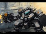 bottoms1237 clenched_hand firing glowing gun highres holding holding_gun holding_weapon looking_ahead mecha no_humans original science_fiction solo visor weapon