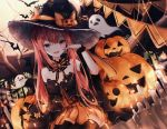 1girl bare_shoulders bat black_headwear blue_eyes bow candle candle_wax cat dress fang full_moon ghost halloween hand_up hat hat_ornament heterochromia highres jack-o'-lantern long_hair miyu_(miy_u1308) moon open_mouth original pointy_ears pumpkin red_eyes redhead scrunchie sitting solo string_of_flags striped thigh-highs twintails vertical_stripes witch_hat wrist_scrunchie