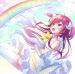 1girl :d amane_kurumi bangs blush bow brown_eyes clouds cloudy_sky collared_shirt commentary_request day eyebrows_visible_through_hair floating_hair frilled_skirt frills green_skirt green_sky hair_between_eyes hair_bow hair_ornament hairclip long_hair looking_away open_mouth original outdoors paper rainbow redhead shirt skirt sky sleeveless sleeveless_shirt smile solo thigh-highs two_side_up very_long_hair white_bow white_legwear white_shirt yellow_bow