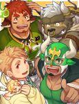 4boys animal_ears asterios_(tokyo_houkago_summoners) bara blonde_hair blush brown_eyes brown_hair cherub chest cow_boy cow_ears cupid_(tokyo_houkago_summoners) facial_hair feathered_wings forked_eyebrows furry glowing_horns goatee gozu_farm green_neckwear hand_up horns jacket jacket_on_shoulders looking_at_viewer male_focus mask multiple_boys muscle nose_piercing piercing pointing pointing_at_viewer rugby_uniform short_hair sideburns sportswear sweatdrop tareme tennouji_shin'ya thick_eyebrows thick_thighs thighs tokyo_houkago_summoners wakan_tanka wings