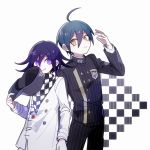 1202_koge 2boys ahoge black_jacket black_pants blue_hair buttons checkered checkered_background checkered_scarf closed_mouth danganronpa eyebrows_visible_through_hair gakuran grin hair_between_eyes hat hat_removed headwear_removed holding holding_clothes holding_hat jacket long_sleeves looking_at_another looking_at_viewer male_focus multiple_boys new_danganronpa_v3 ouma_kokichi pants pinstripe_pattern purple_hair ringed_eyes saihara_shuuichi scarf school_uniform simple_background smile striped symbol_commentary vertical_stripes violet_eyes white_background yellow_eyes