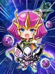 1girl blue_eyes chibi funnels gundam gundam_zz haman_karn highres looking_at_viewer mecha open_hand pink_eyes pink_hair poyoyon_chihiro qubeley short_hair zeon