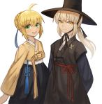 2girls :d ahoge alternate_costume arms_behind_back artoria_pendragon_(all) bangs black_ribbon blonde_hair blue_ribbon braid commentary_request crown_braid eyebrows_visible_through_hair fate/stay_night fate_(series) green_eyes hair_between_eyes hair_ribbon hanbok hat highres korean_clothes korean_commentary long_sleeves looking_at_viewer multiple_girls open_mouth ponytail ribbon saber saber_alter simple_background smile sookmo white_background yellow_eyes