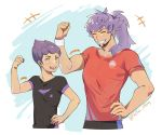 2boys absurdres artist_name brothers closed_eyes collarbone eyelashes facial_hair flexing hair_over_shoulder hand_on_hip highres hop_(pokemon) leon_(pokemon) long_hair multiple_boys open_mouth pokefan_cheng pokemon pokemon_(game) pokemon_swsh pose purple_hair red_shirt shirt short_hair short_sleeves siblings smile teeth tongue watermark yellow_eyes