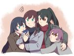 4girls agano_(kantai_collection) alternate_costume arm_around_waist betchan black_hair blue_eyes blush breasts brown_eyes brown_hair cellphone coat green_eyes hug jacket kantai_collection long_hair multiple_girls noshiro_(kantai_collection) open_mouth phone ponytail purple_hair raised_eyebrows red_eyes red_ribbon ribbon sakawa_(kantai_collection) short_hair sidelocks sweatdrop sweater turtleneck turtleneck_sweater yahagi_(kantai_collection)