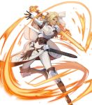 1girl arm_guards armor bangs belt blonde_hair blue_eyes boobplate breastplate breasts catherine_(fire_emblem) closed_mouth dark_skin fire_emblem fire_emblem:_three_houses fire_emblem_heroes full_body gloves highres knee_pads long_hair long_sleeves looking_at_viewer official_art p-nekor pants parted_bangs puffy_sleeves shoulder_armor solo sword transparent_background weapon white_pants