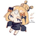 1girl abigail_williams_(fate/grand_order) bangs black_bow black_jacket blonde_hair blue_eyes blush_stickers bow chibi colored_shadow crossed_bandaids drop_shadow fate/grand_order fate_(series) full_body hair_bow hair_bun heroic_spirit_traveling_outfit highres jacket lightning_bolt long_sleeves looking_at_viewer open_mouth orange_bow parted_bangs shadow signature simple_background sleeves_past_fingers sleeves_past_wrists sofra solo twitter_username white_background