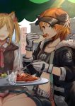2girls absurdres animal_ears arknights artist_request belt black_jacket blonde_hair collarbone croissant_(arknights) crop_top cup drinking_glass eating food fork fur-trimmed_jacket fur_trim gloves green_eyes highres holding holding_fork holding_spoon horns id_card jacket long_sleeves looking_at_viewer midriff multiple_girls navel open_clothes open_jacket open_mouth orange_hair outdoors pasta penguin_logistics_logo plate short_hair short_shorts shorts sitting smile sora_(arknights) spaghetti spoon table twintails visor_cap white_gloves wolf_ears