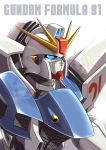 absurdres altronage blue_eyes character_name close-up f91_gundam glowing glowing_eyes gundam gundam_f91 highres looking_up mecha no_humans solo v-fin white_background