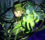 1boy absurdres black_gloves black_hair castle choker coat collarbone dragon_boy fire gloves green_eyes green_eyeshadow green_fire hair_between_eyes highres horns huge_filesize kyarairo malleus_draconia pointy_ears slit_pupils solo thorns twisted_wonderland