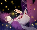 1boy beard collared_shirt commentary_request danganronpa dress_shirt eyebrows_visible_through_hair facial_hair falling fang feet_out_of_frame floating_hair from_side goatee grey_shirt grin jacket jacket_on_shoulders long_sleeves looking_up male_focus midriff_peek momota_kaito nanin navel necktie new_danganronpa_v3 open_clothes pants pink_jacket pink_pants print_shirt purple_hair shirt short_hair smile solo spiky_hair star_(symbol) starry_background starry_sky_print teeth violet_eyes white_shirt wing_collar