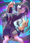 1boy absurdres ahoge allister_(pokemon) black_hair collared_shirt commentary_request gen_7_pokemon gloves glowing glowing_eyes gym_leader highres long_sleeves looking_at_viewer mask mimikyu mushiki_k number pokemon pokemon_(creature) pokemon_(game) pokemon_swsh shirt shorts side_slit side_slit_shorts single_glove suspender_shorts suspenders violet_eyes